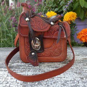 Vintage Tooled Leather Saddle Stash Bag